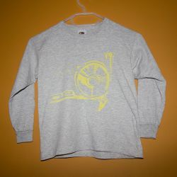 BMW 02 Handprinted Kids Cotton Longsleeve - Yellow on Grey  5-6 years.