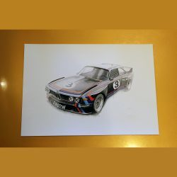 Ltd Edition Print - BMW 3.0CSL Batmobile Hans Stuck by Paul Howse