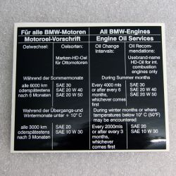 (E9 2.5CS-3.0CSL) Oil Service Sticker 3.0CSi - 3.0CSL